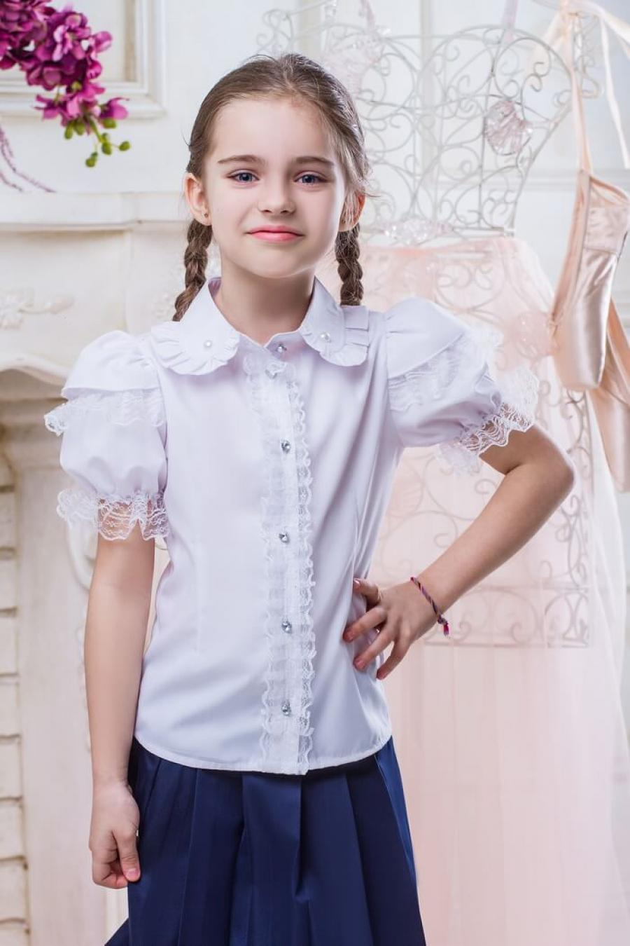 998e8e8c1d9 Школьная Блузка Для Девочки «Sh-11» ~ Купить Оптом От (5+)