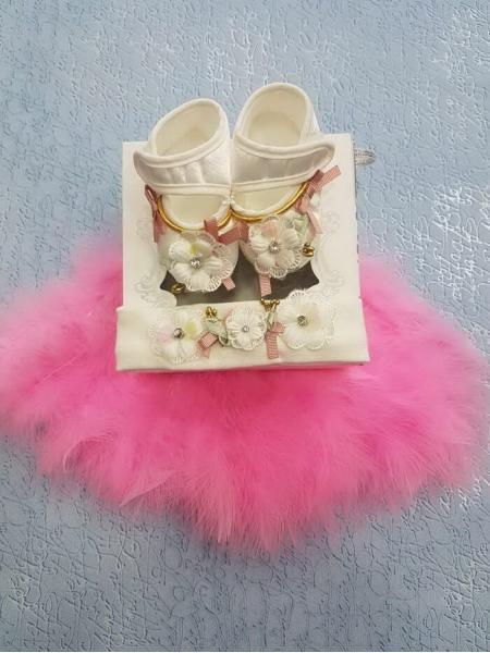 Тапочки для младенца девочки + повязка