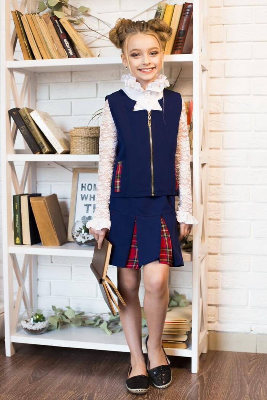 Костюм жилетка и юбка для девочки «k-10»