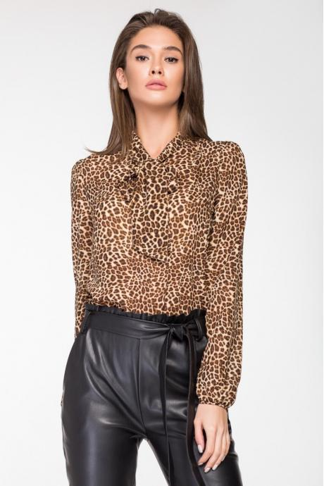 baf45880045 Женская блузка «Бант» Леопард ~ Купить Оптом От (5+)