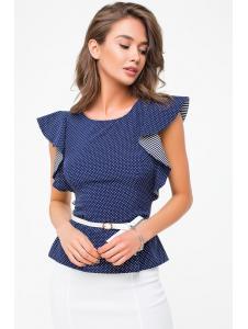 Женская Блузка Баска-крыло «Софт» ремень в комплекте