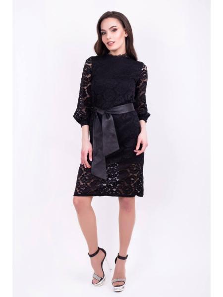 Гипюровое платье с поясом Do-10 фото