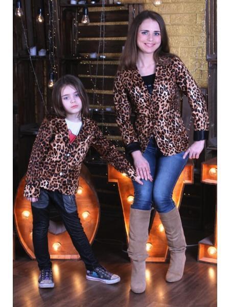 """Пиджак """"Леопард"""" (комплект мама + дочка)"""